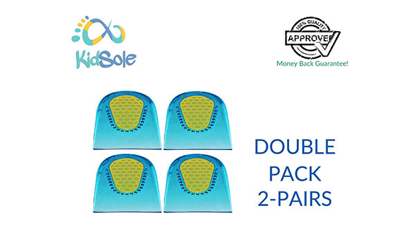 Double Pack 2 Pairs Children Shock Absorbing Gel Heel Cups